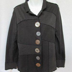 Neon Buddha Jacket M Black Large Buttons Cotton